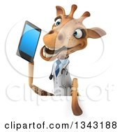 Clipart Of A 3d Happy Doctor Or Veterinary Giraffe Talking On A Smart Phone Over A Sign Royalty Free Illustration by Julos