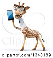 Clipart Of A 3d Bespectacled Happy Doctor Or Veterinary Giraffe Facing Left And Talking On A Smart Phone 2 Royalty Free Illustration by Julos