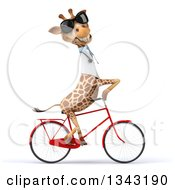 Clipart Of A 3d Doctor Or Veterinary Giraffe Wearing Sunglasses And Riding A Red Bicycle To The Right Royalty Free Illustration by Julos