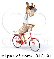 Clipart Of A 3d Doctor Or Veterinary Giraffe Wearing Sunglasses And Riding A Red Bicycle Slightly To The Right Royalty Free Illustration by Julos