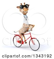 Clipart Of A 3d Doctor Or Veterinary Giraffe Wearing Sunglasses And Riding A Red Bicycle Slightly To The Right 2 Royalty Free Illustration by Julos