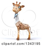 Clipart Of A 3d Doctor Or Veterinary Giraffe Facing Left Royalty Free Illustration by Julos