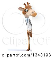 Clipart Of A 3d Full Length Doctor Or Veterinary Giraffe Looking Around A Sign Royalty Free Illustration by Julos
