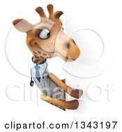 Clipart Of A 3d Doctor Or Veterinary Giraffe Looking Around A Sign Royalty Free Illustration by Julos