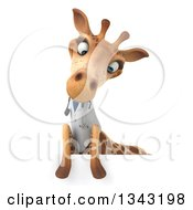 Clipart Of A 3d Doctor Or Veterinary Giraffe Looking Down Over A Sign Royalty Free Illustration by Julos