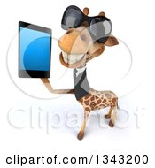 Clipart Of A 3d Business Giraffe Wearing Sunglasses Facing Slightly Left And Holding Up A Smart Cell Phone Royalty Free Illustration