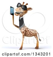 Clipart Of A 3d Business Giraffe Wearing Sunglasses Facing Left And Holding A Smart Cell Phone 2 Royalty Free Illustration