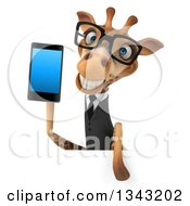 Clipart Of A 3d Bespectacled Business Giraffe Holding A Smart Cell Phone Over A Sign Royalty Free Illustration