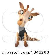 Clipart Of A 3d Business Giraffe Looking Down Over A Sign Royalty Free Illustration