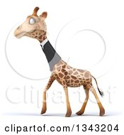 Clipart Of A 3d Business Giraffe Walking To The Left Royalty Free Illustration