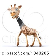 Clipart Of A 3d Business Giraffe Grinning And Walking To The Left Royalty Free Illustration