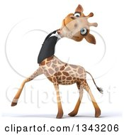 Clipart Of A 3d Business Giraffe Leaning His Head Back And Walking To The Left Royalty Free Illustration by Julos