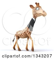 Clipart Of A 3d Business Giraffe Walking Slightly To The Right Royalty Free Illustration