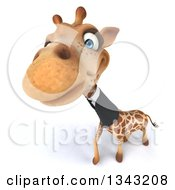 Clipart Of A 3d Business Giraffe Looking Up Royalty Free Illustration