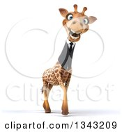 Clipart Of A 3d Business Giraffe Smiling And Walking Slightly To The Right Royalty Free Illustration