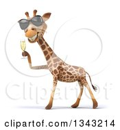 Clipart Of A 3d Giraffe Wearing Sunglasses Facing Left And Holding A Glass Of Champagne Royalty Free Illustration by Julos