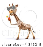 Poster, Art Print Of 3d Giraffe Wearing Sunglasses Facing Left And Drinking A Beverage