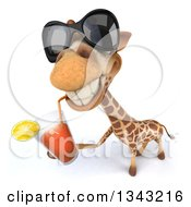 Clipart Of A 3d Giraffe Wearing Sunglasses Looking Up And Drinking A Beverage Royalty Free Illustration