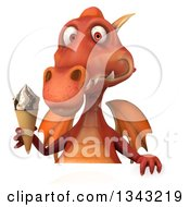 Clipart Of A 3d Red Dragon Holding A Waffle Ice Cream Cone Over A Sign Royalty Free Illustration