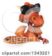 Clipart Of A 3d Red Dragon Wearing Sunglasses And Holding A Pizza Over A Sign Royalty Free Illustration
