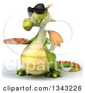 Clipart Of A 3d Green Dragon Wearing Sunglasses Facing Slightly Right And Holding A Pizza Royalty Free Illustration