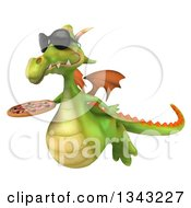 Clipart Of A 3d Green Dragon Wearing Sunglasses Flying Slightly Right And Holding A Pizza Royalty Free Illustration