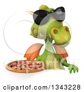 Clipart Of A 3d Green Dragon Wearing Sunglasses And Holding A Pizza Over A Sign Royalty Free Illustration