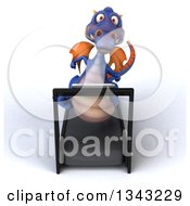 Clipart Of A 3d Purple Dragon Looking Up And Running On A Treadmill Royalty Free Illustration