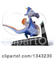 Clipart Of A 3d Purple Dragon Running On A Treadmill Facing Right Royalty Free Illustration