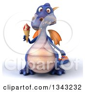 Clipart Of A 3d Purple Dragon Holding A Waffle Ice Cream Cone Royalty Free Illustration