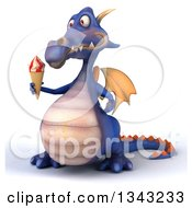 Clipart Of A 3d Purple Dragon Facing Slightly Left And Holding A Waffle Ice Cream Cone Royalty Free Illustration