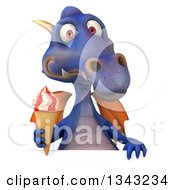 Clipart Of A 3d Purple Dragon Holding A Waffle Ice Cream Cone Over A Sign Royalty Free Illustration
