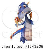 Clipart Of A 3d Full Length Purple Dragon Holding A Waffle Ice Cream Cone Around A Sign Royalty Free Illustration
