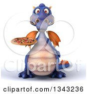Clipart Of A 3d Purple Dragon Holding A Pizza Royalty Free Illustration