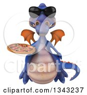Clipart Of A 3d Purple Dragon Wearing Sunglasses Flying And Holding A Pizza Royalty Free Illustration by Julos