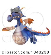 Clipart Of A 3d Purple Dragon Wearing Sunglasses Flying Slightly To The Left And Holding A Pizza Royalty Free Illustration by Julos