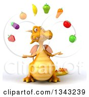 Clipart Of A 3d Yellow Dragon Juggling Healthy Produce Royalty Free Illustration