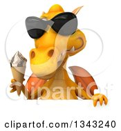Clipart Of A 3d Yellow Dragon Wearing Sunglasses And Holding A Waffle Ice Cream Cone Over A Sign Royalty Free Illustration