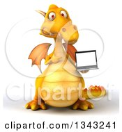Clipart Of A 3d Yellow Dragon Holding And Pointing To A Laptop Computer Royalty Free Illustration