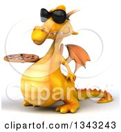 Clipart Of A 3d Yellow Dragon Wearing Sunglasses Facing Slightly Left And Holding A Pizza Royalty Free Illustration