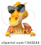Clipart Of A 3d Yellow Dragon Wearing Sunglasses And Pointing Down Over A Sign Royalty Free Illustration