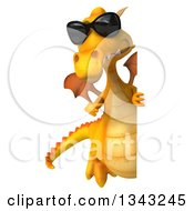 Clipart Of A 3d Full Length Yellow Dragon Wearing Sunglasses And Pointing Around A Sign Royalty Free Illustration
