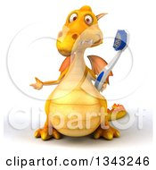 Clipart Of A 3d Yellow Dragon Holding A Giant Toothbrush And Presenting Royalty Free Illustration