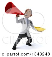 Clipart Of A 3d Young Black Male Nutritionist Doctor Holding A Banana And Announcing With A Megaphone Royalty Free Illustration