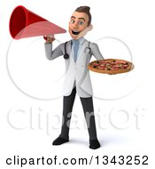 Clipart Of A 3d Young Brunette White Male Nutritionist Doctor Holding A Pizza And Announcing With A Megaphone Royalty Free Illustration
