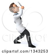 Clipart Of A 3d Young Brunette White Male Doctor Facing Right Looking Up And Searching With A Magnifying Glass Royalty Free Illustration