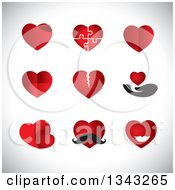 Clipart Of Red Heart App Icon Design Elements Over Shading Royalty Free Vector Illustration