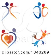 Clipart Of Blue And Orange Couples Dancing Royalty Free Vector Illustration