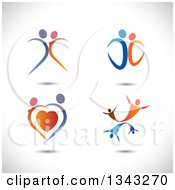 Clipart Of Blue And Orange Couples Dancing Over Shading Royalty Free Vector Illustration