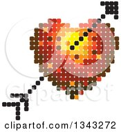 Clipart Of A Heart And Cupids Arrow Made Of Dots Royalty Free Vector Illustration